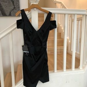 Bebe black satin cold shoulder dress sz XS